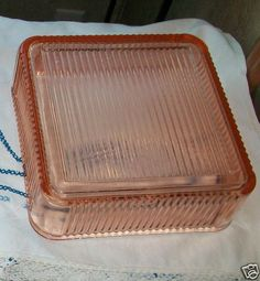 Large Glass Refrigerator Dish Federal Depression Glass  Pink - my Mom still has one of these somewhere!
