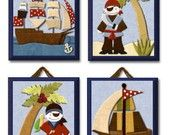 Pirates Cove set of 4 paper prints for baby boy's Cottontale room. $20.00, via Etsy.