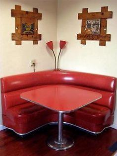 Red-Mid-Century-kitchen-Booth-true-vintage-corner-nook-Diner-Banquette-Dinette