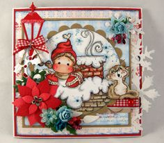 Tilda with Lovikka mittens, Snowy Roof, Jasper the Cat, A Christmas Story, Magnolia stamps