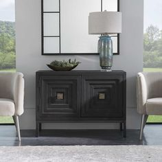 A Contemporary Geometric 2 Door Accent Cabinet, Constructed From Deeply Grained Fir Wood Finished In A Dark Ebony Stain, Accented With Brushed Brass Hardware. Has One Fixed Interior Shelf. Brown Furniture, Living Furniture, Accent Furniture, Stain Furniture, Painted Fox Home, Staining Cabinets, Walnut Wood, Dark Walnut, Wood Accents