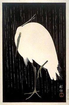 "Heron in Rain, 1928  by Ohara Koson (1877-1945): Japanese Painter / Printmaker late 19th early 20th centuries; part of shin-hanga (""new prints"") movement.  http://www.hanga.com/viewimage.cfm?ID=865"