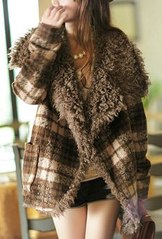 Woodland Solitude Plaid Curly Woolen Shearling Coat in Brown