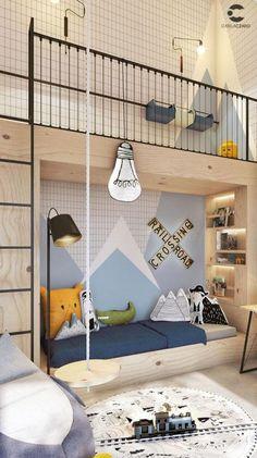 Simplicity Scandinavian House With Wood Characteristics Modern Kids Bedroom, Cool Kids Bedrooms, Teen Bedroom Designs, Chambre Nolan, Ideas Dormitorios, Creative Kids Rooms, Kids Room Design, Kid Spaces, Boy Room