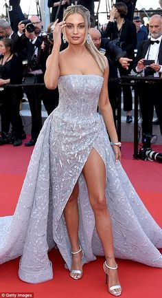 Show-stopping: Elsewhere, Belgian model Rose Bertram was sure to turn heads as she sported an ice blue strapless gown that featured plenty of sequin and intricate beading Swag Outfits For Girls, Pretty Outfits, Pretty Dresses, Beautiful Dresses, Evening Dresses, Prom Dresses, Formal Dresses, Celebrity Red Carpet, Western Dresses