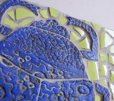 Ceramic Mosaic Relief  Blue Scarab  Original Art by BlueTerracotta