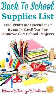 Free printable back to school supplies list for what to make sure you're stocking at home for your kids homework assignments and school projects {on Home Storage Solutions 101} Back To School Supplies List, School Supplies Highschool, Back To School Crafts, Back To School Hacks, Homework Organization, School Supplies Organization, Diy School Supplies, School Projects, Organization Ideas