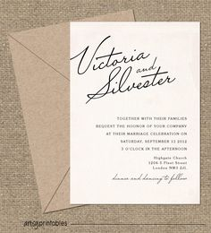 VINTAGE Wedding Invitations - ELEGANT SCRIPT Style
