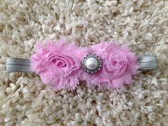 Light Pink Shabby Flower Infant baby Girl by HannahHeadbands, $8.00