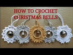 How to crochet Christmas bells ? Part one - Silver Star. Quick and easy crochet project to make Christmas ornaments. Find the written pattern here: . Check out the bells in my Etsy shop: . Crochet Christmas Ornaments, Holiday Crochet, Christmas Crochet Patterns, Crochet Snowflakes, Christmas Bells, Crochet Gifts, Christmas Crafts, Free Crochet, Christmas Angels