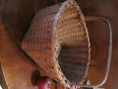 Antique 1800s New England Shaker Black Ash Red Stained Woven Splint Basket For Sale North Bayshore Antiques
