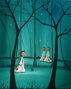 My dark and dreamy paintings and prints are rather sad and surreal in nature, at times a little whimsical and weird.