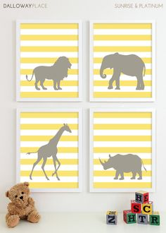Modern Nursery Art Jungle Zoo Nursery Print, Safari Animal Kids Wall Art for Children Room Playroom, Baby Nursery Decor - Four 8x10. $50.00, via Etsy.