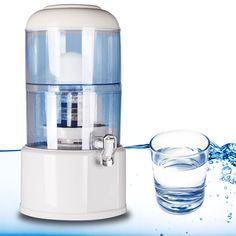 Depósito dispensador y purificador de agua de 20 litros. Con filtros de cerámica, de arena de sílice, de piedra mineral zeolita, magnético y de carbono activo.