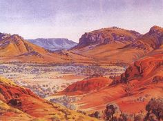 Near Palm Valley, West Macdonnell Ranges, Central Australia, Northern Territory - by Albert Namatjira Australian Painting, Australian Artists, Watercolor Landscape, Landscape Art, Landscape Paintings, Watercolour, Outback Australia, Long Painting, Aboriginal Art
