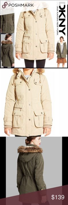 """DKNY ANORAK UTILITY Cold Weather JACKET 💟NEW WITH TAGS💟  DKNY ANORAK UTILITY Cold Weather JACKET   * Faux-coyote fur trim on zip off hood  * Incredibly soft faux shearling lined collar  * Front snap, storm zip placket closure, snap down gunflaps, cargo snap pockets, & rib knit cuff inserts & belted cuffs  * Appox 32.5"""" long; Water resistant  * Inner drawstring waist Item:  Fabric: Modacrylic, polyester  Color: Khaki   🚫No Trades🚫 ✅Offers Considered*✅  *Please use the blue 'offer' button…"""