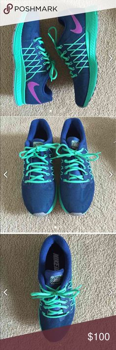 Nike Air Zoom Pegasus 32 Flash Women's training shoe from Nike ID.  Customized to be insignia blue, vivid purple, and menta green.  Brand New without box Water repellant.   Fly wire technology.   Size 9.5 Retail price $165 Nike Shoes Athletic Shoes