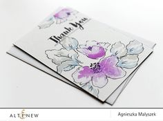 One Layer Floral Card using Hibiscus Bouquet set. I created a card base using Altenew Pale Gray Cardstock. Then, I stamped the outline images with black ink. To stamp my flowers I inked my stamp with two shades: Deep Iris and Midnight Violet. For the leaves I used two different colours and I inked my stamp with Evening Grey and Caribbean Sky. Sentiment from Floral Shadow stamp set and black pen to underline the words.