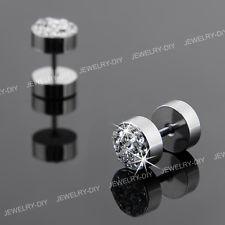 "Stainless Steel Crystal Men's Earrings Ear Studs 0.31"" HOT"