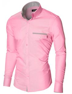MODERNO Mens Slim Fit Casual Button-Down Shirt (MOD1413LS) Pink. FREE worldwide shipping! 30 days return policy