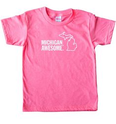 Kids can be Smitten with the Mitten too! Printed on American-made shirts - Solid colors are Cotton, Neon colors are Polyester/Cotton. Our kids' shirts tend to fit small. Crew Shirt, T Shirt, Neon Colors, American Made, Kids Shirts, Peace And Love, American Apparel, Mittens, Michigan