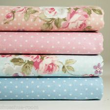 Lot of 4 Fat Quarters 100% Cotton Fabric Pink Blue Floral Dot Sewing Craft s-242