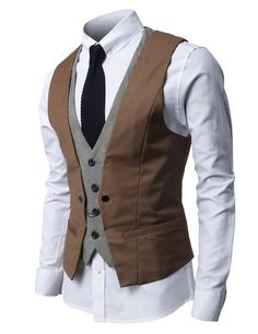 Mens Fashion Business Suit Vest with Layered Style 4 Buttons Point Chain rings Fashion Business, Business Mode, Business Suits, Business Formal, Dress Suits, Men Dress, Dress Vest, Men Formal, Business Dresses