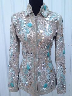 Lindsey James Show Clothing. Cream base with white and silver applique and white, silver and turquoise crystals