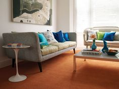 Clash your cushions with your carpet for a contemporary look that is sure draw attention. Carpet available in a variety of colours in store now! Carpet Design, Floor Design, Wooden Flooring, Autumn Inspiration, Fall Trends, Home Improvement, Couch, Colours, Contemporary