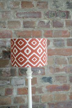 Rust aztec lamp shade, Rust decor, Aztec decor, Brown lampshades, Orange lampshade, Rust colour decor, Handmade lampshades, drum lampshade by ShadowbrightLamps on Etsy https://www.etsy.com/uk/listing/556231105/rust-aztec-lamp-shade-rust-decor-aztec