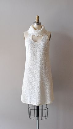 1960s dress / mod white lace dress
