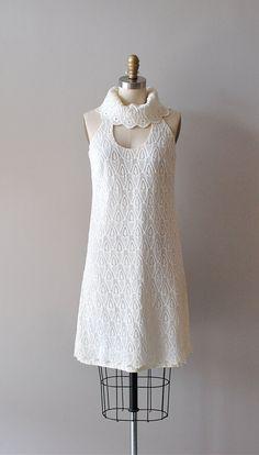 1960s dress / mod white lace dress