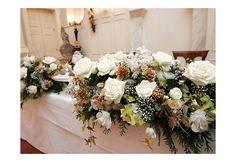 ホワイトクリスマスのメインテーブルフラワー|会場装花|営業品目|ブルーモルフォ