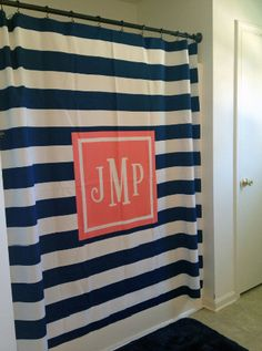 Personalized Shower Curtain with Monogram. Choose pattern, background, monogram style and more to accessorize a bathroom in style. From The Cute Kiwi Home Design, Design Ideas, Cabana, Bungalow, College Bathroom, Dorm Bathroom, Master Bathrooms, College Apartments, College Dorms