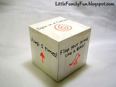 """Physical Activity Cube for P.E. or """"I'm Bored"""" Cube with activities."""