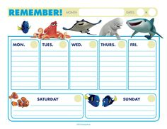 Free Finding Dory Calendar