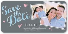 Blue 4x8 Flat Photo Paper 2 Photo Rounded Corners Save the Dates, Wedding Cards & Save the Date Cards | Shutterfly
