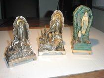Lot van 3 lourdes muziek-doosjes metaal, zilverkleurig, kunststof -  20e eeuw