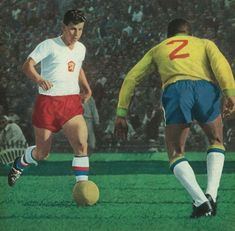 Brazil 3 Czechoslovakia 1 in 1962 in Santiago. Josef Masopust runs at Djalma Santos in the World Cup Final.