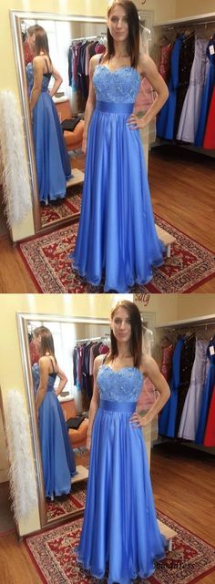 Gorgeous Sweetheart Spaghetti Straps Floor Length Long Prom Dress, Elegant Long Evening Dress · prom dress · Online Store Powered by Storenvy Homecoming Dresses Long, Prom Dresses Blue, Dress Prom, Make Your Own Dress, Mermaid Evening Dresses, Beautiful Gowns, Appliques, Spaghetti Straps, Sexy