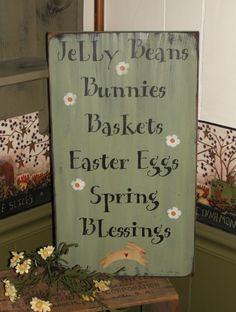 Primitive Spring Sign with Bunny and Flowers