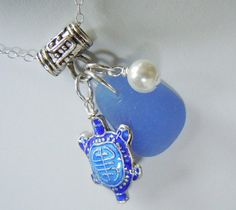 turtle charm with sea glass and pearl, cute