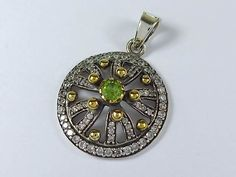 Sterling silver cubic zirconia peridot pendant