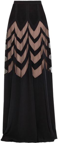 Temperley London Zig Zag Silk Maxi Skirt