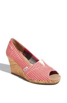 TOMS- I have a regular, grey pair of TOMS, but I think these wedges would be really cute for summer! They're not too high and I also how it looks kind of nautical. Cute Shoes, Me Too Shoes, Red Shoes, Stuffed Animals, Striped Wedges, Comfy Heels, Toms Classic, Shoe Gallery, Wedge Boots