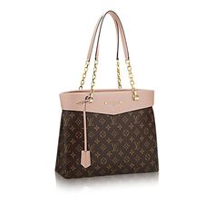 """Discover Louis Vuitton Pallas Shopper: A glamorous addition to the Pallas line, this new shoulder tote offers everything an active modern woman craves. The sleek feminine design combines Monogram canvas with deeply hued calf leather and luxurious detailing, witness the gleaming chain and decorative rivets surrounding the embossed """"Louis Vuitton Paris"""" signature. Thanks to an extra-roomy trapeze base, the bag transitions from pleasure to business, accommodating shopping-trip treasures…"""
