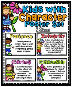 This poster pack is designed to help foster and reinforce good character traits in your classroom. Character Education, Character Development, Kids Education, Sunday School Classroom, Classroom Rules, Classroom Decor, Positive Behavior Chart, Behavior Charts, School Readiness
