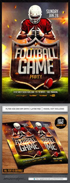 #Football #Flyer Template - #Sports Events Download here: https://graphicriver.net/item/football-flyer-template/6483393?ref=alena994