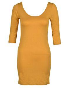 #Mustard 3/4 Sleeve Scoop Neck Bodycon Dress Top #yellow
