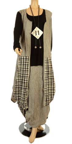 """Love the plaid in this outfit Hebbeding Summer 2012 Black """"Albizia"""" Long Sleeved T-Shirt-Hebbeding, lagenlook, womens plus size UK clothing"""